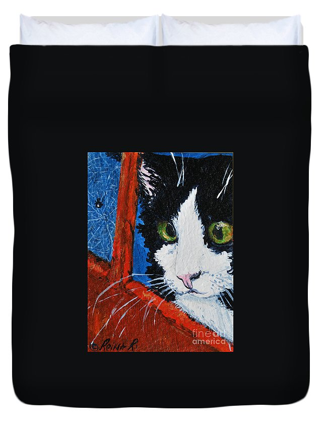 Cat Duvet Cover featuring the painting Molly by Reina Resto