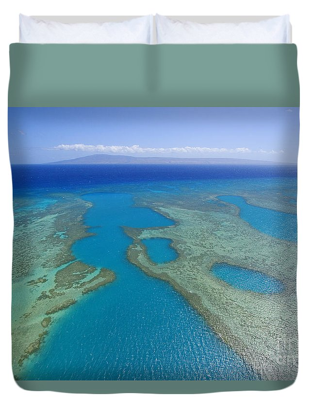 Above Duvet Cover featuring the photograph Molokai, Aerial by Ron Dahlquist - Printscapes