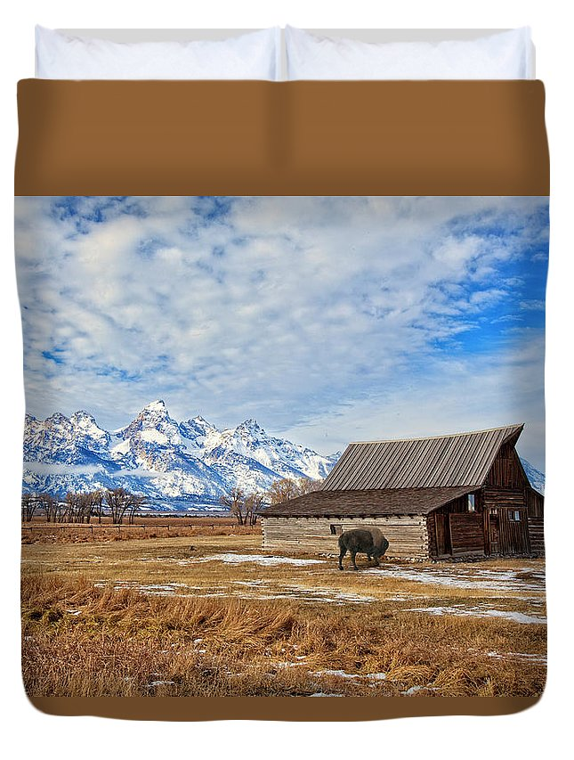 Tetons Duvet Cover featuring the photograph Molten Barn And Tetons 4 by Jack Chamberlin