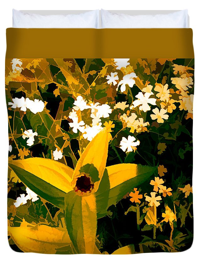 Digital Duvet Cover featuring the mixed media Molten Gold Flowers by Debra Lynch