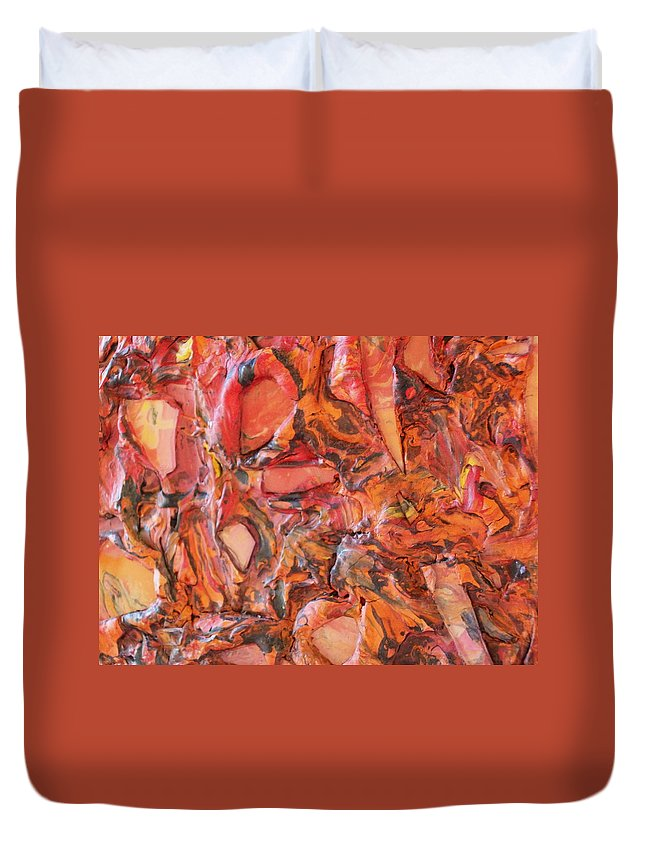 Duvet Cover featuring the painting Molten by Laurette Escobar