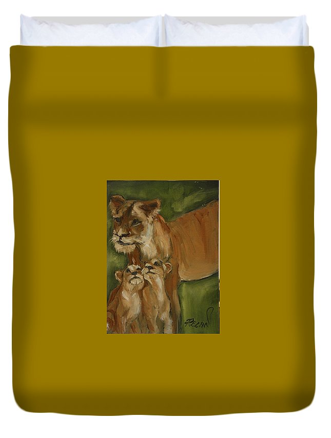 Lion Duvet Cover featuring the painting Mom And Babies by Rezan Ozger