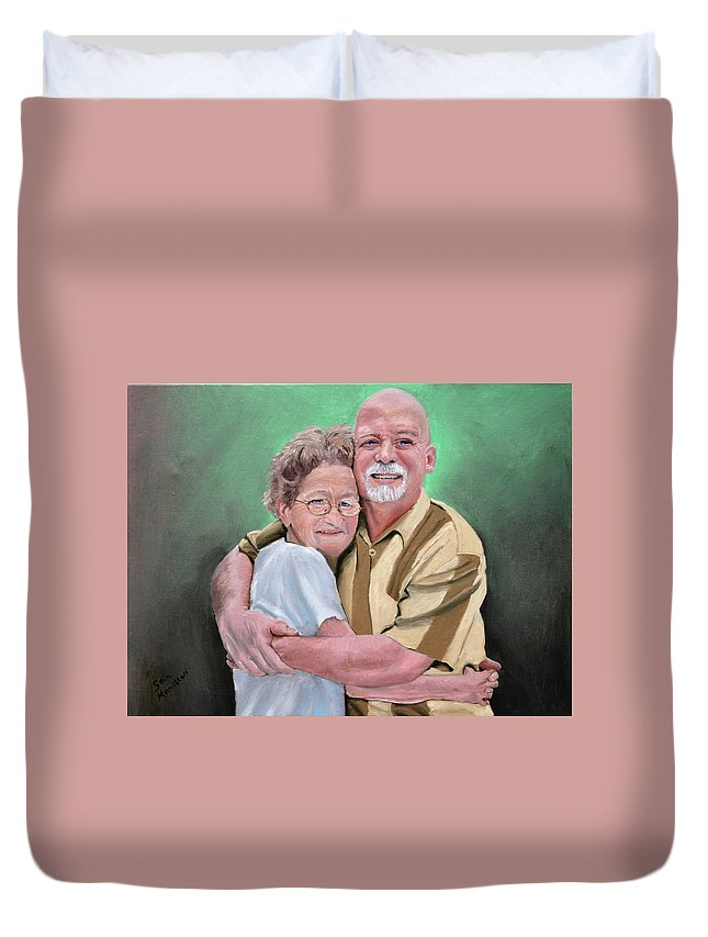 Portrait Duvet Cover featuring the painting Mom And Son by Stan Hamilton