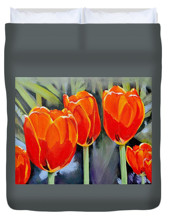 Tulip Duvet Cover featuring the painting Moment in the Sun 3 by Mary Chant