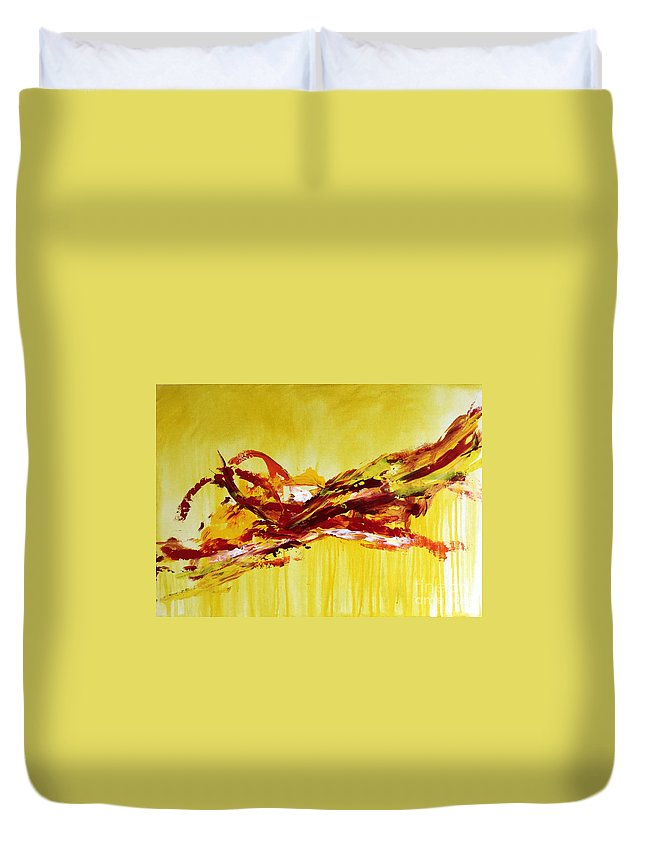 Original Duvet Cover featuring the painting Moment by Yueer Xu