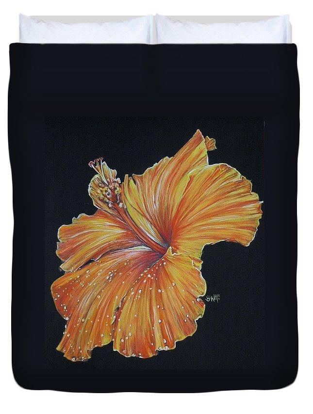 Hibiscus Duvet Cover featuring the painting Momentous by Barbara Keith