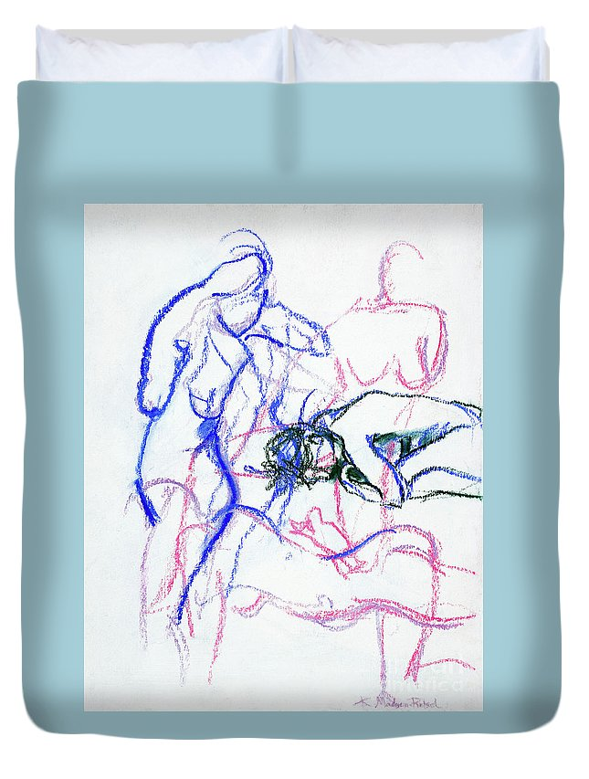 Gestural Duvet Cover featuring the mixed media Moments In Time No 1 by Kerryn Madsen-Pietsch