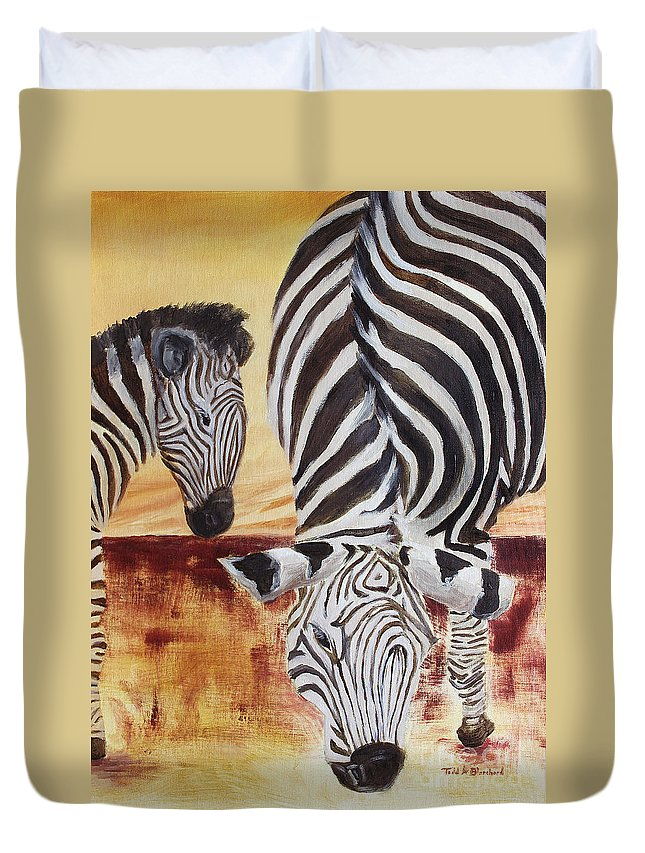 Animal Duvet Cover featuring the painting Momma And Baby by Todd Blanchard