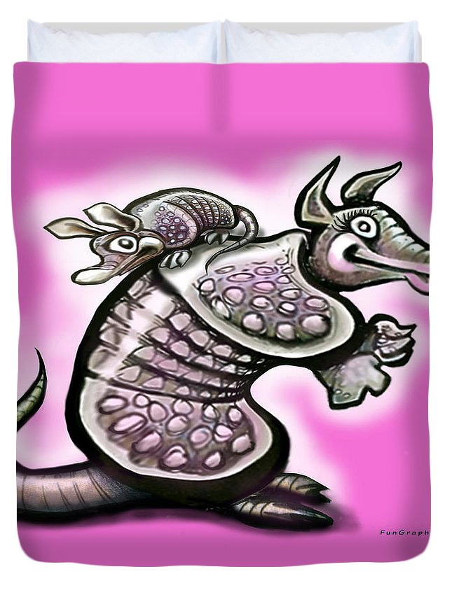 Mom Duvet Cover featuring the digital art Momma Dillo by Kevin Middleton