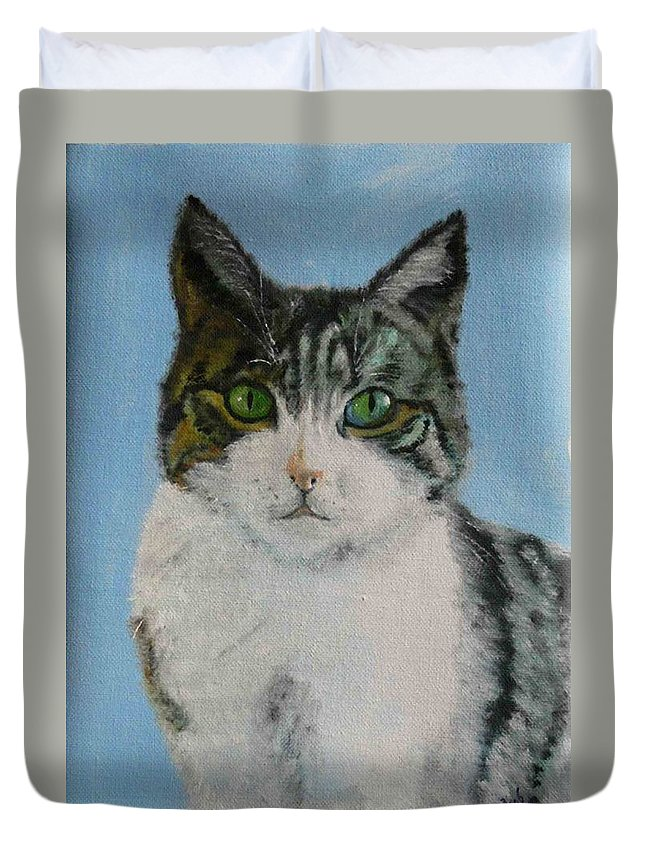 Tomcat Duvet Cover featuring the painting Momo by Helmut Rottler