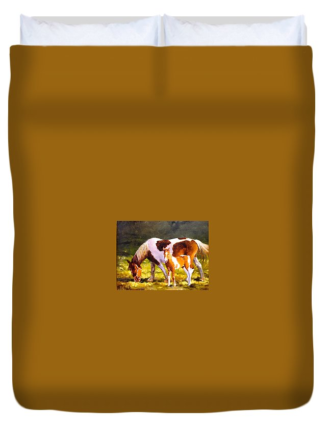Horse Colt Duvet Cover featuring the painting Mom's Favorite by R W Carlson
