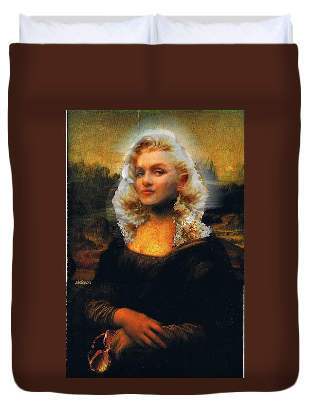 Mona Lisa Duvet Cover featuring the digital art Mona Marilyn by Seth Weaver