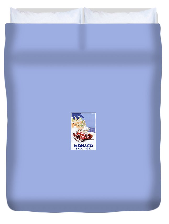Vintage Duvet Cover featuring the painting Monaco Grand Prix 1937 by Nostalgic Prints