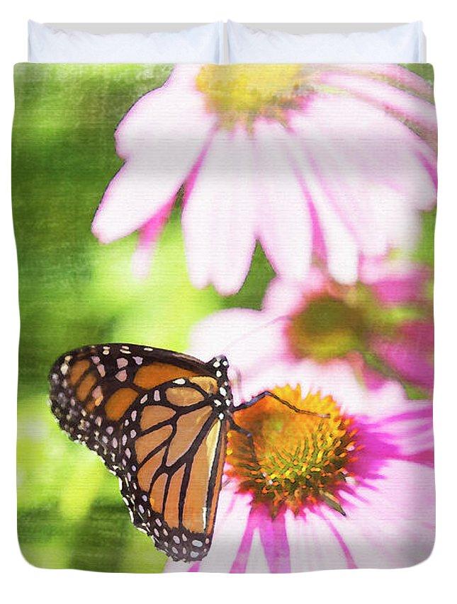 Monarch Butterfly Duvet Cover featuring the digital art Monarch Butterfly Art by David Stasiak
