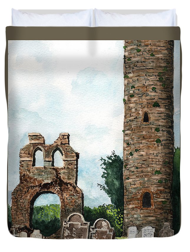 Tim Gordon Duvet Cover featuring the painting Monasterboice Ruins Ireland by Timithy L Gordon