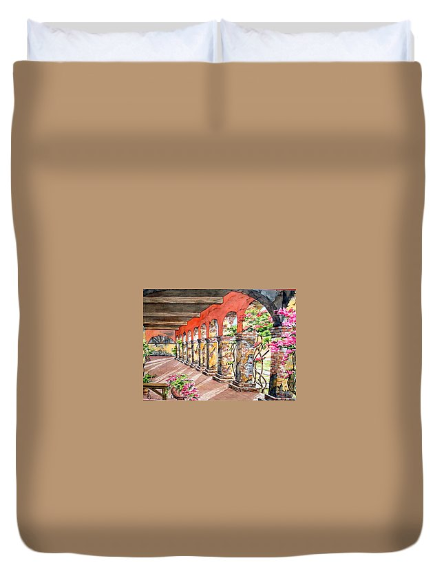 Landscape Duvet Cover featuring the painting Monasterio by Tatiana Escobar