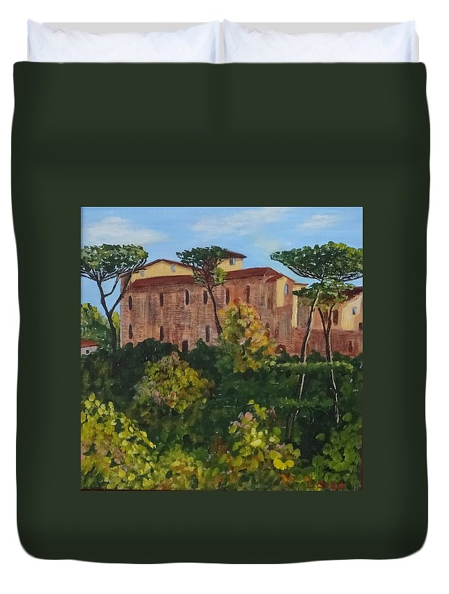 Diane Arlitt Duvet Cover featuring the painting Monastero by Diane Arlitt