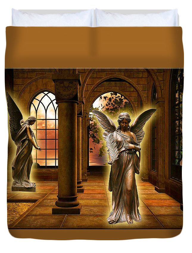 Monastery Duvet Cover featuring the digital art Monastery Angles by Austin Torney