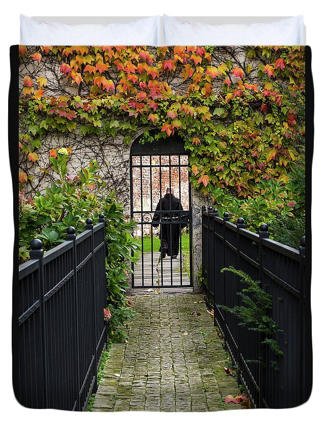 Ate Duvet Cover featuring the photograph Monastery Entrance by Juli Scalzi