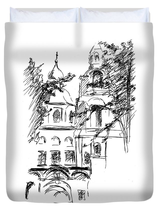 Monastery Duvet Cover featuring the drawing Monastery by Masha Batkova