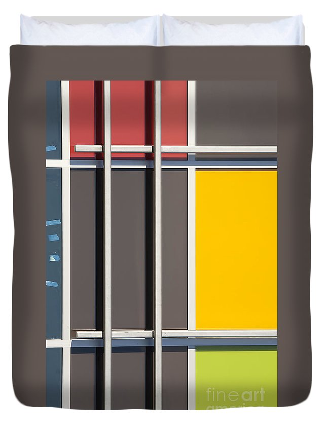 Mondrian Duvet Cover featuring the photograph Mondrian Style by Chris Dutton