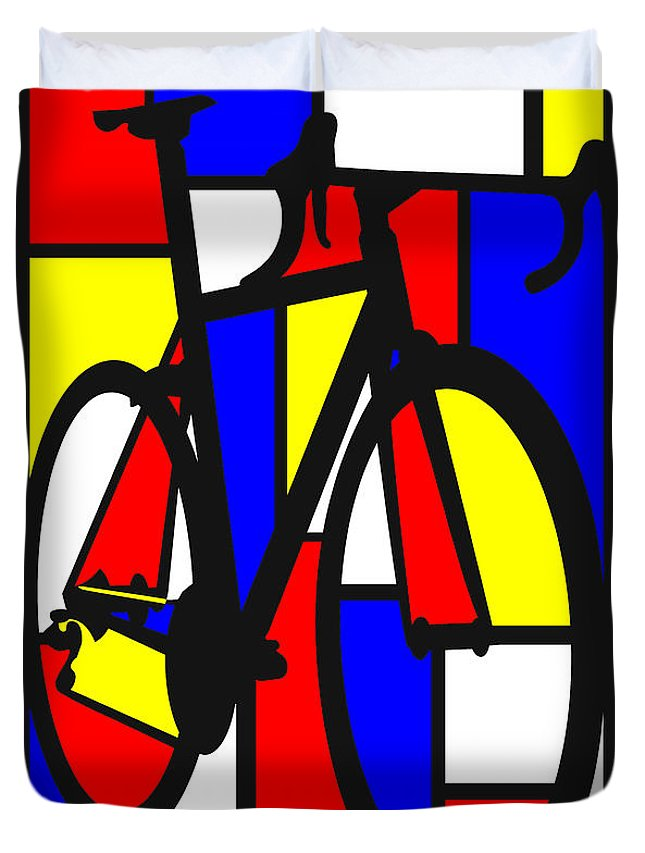 Bicycle Duvet Cover featuring the painting Mondrianesque Road bike by Sassan Filsoof
