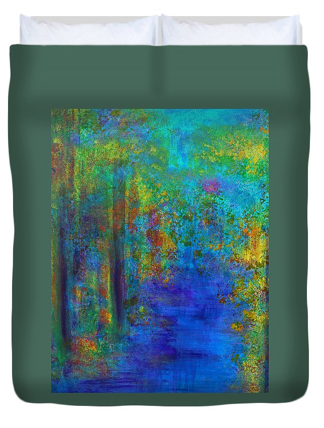 Monet Duvet Cover featuring the painting Monet Woods by Claire Bull