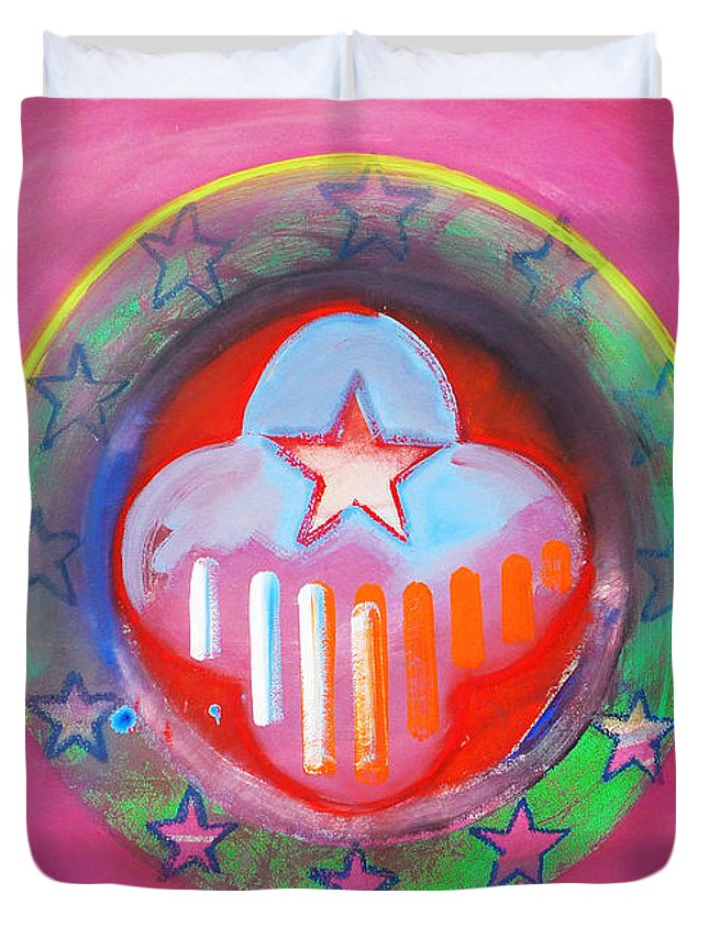 Symbol Duvet Cover featuring the painting Monetary Union by Charles Stuart