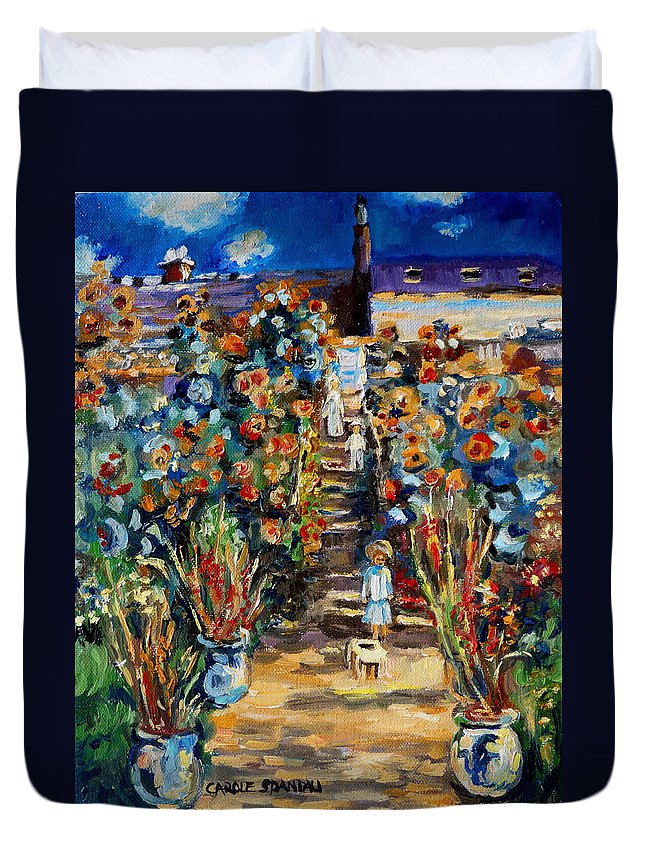 Monet Duvet Cover featuring the painting Monets Flower Garden by Carole Spandau