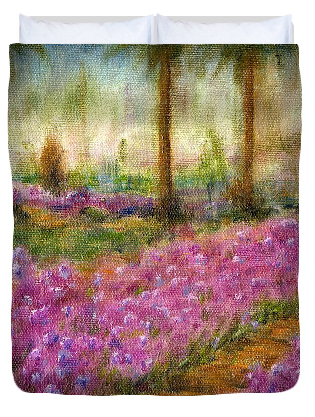 Monet Duvet Cover featuring the painting Monet's Garden In Cannes by Jerome Stumphauzer