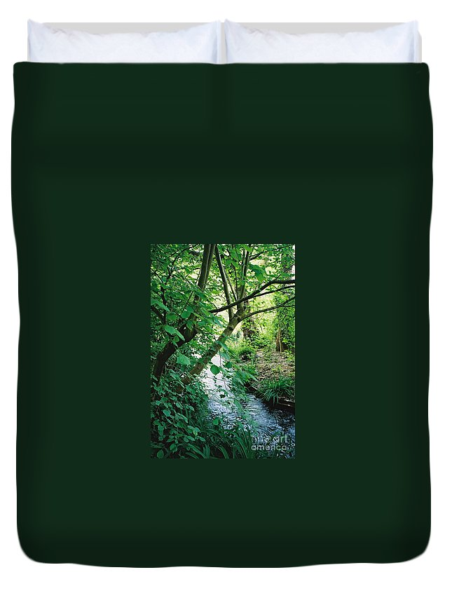 Photography Duvet Cover featuring the photograph Monet's Garden Stream by Nadine Rippelmeyer