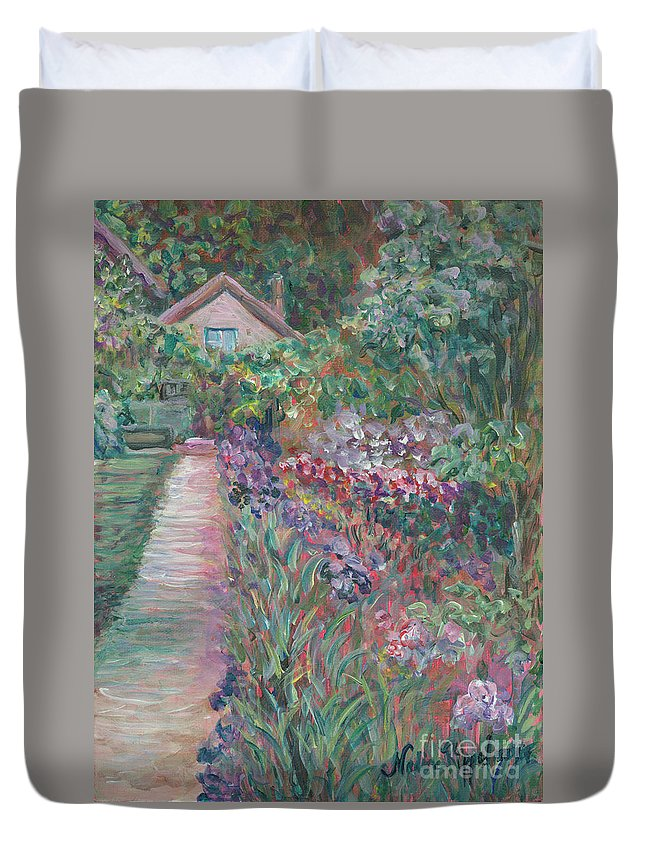 Monet Duvet Cover featuring the painting Monet's Gardens by Nadine Rippelmeyer