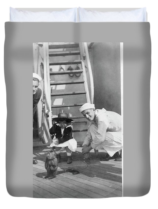 Sailors Duvet Cover featuring the photograph Monkey On The Ship by Unknown