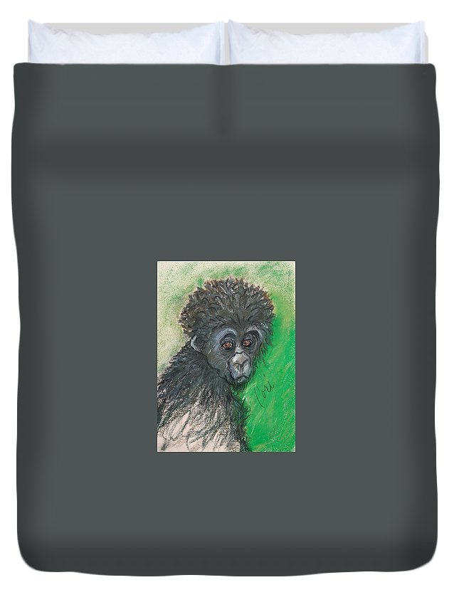 Monkey Duvet Cover featuring the drawing Monkey Business by Cori Solomon
