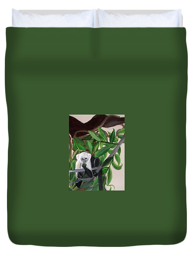 Tropical Duvet Cover featuring the painting Monkey Detail 2 From Mural by Anne Cameron Cutri