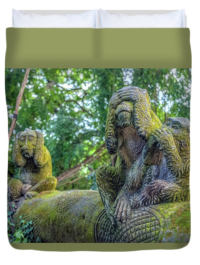 Monkey Forest Duvet Cover featuring the photograph Monkey Forest Ubud - Bali by Joana Kruse