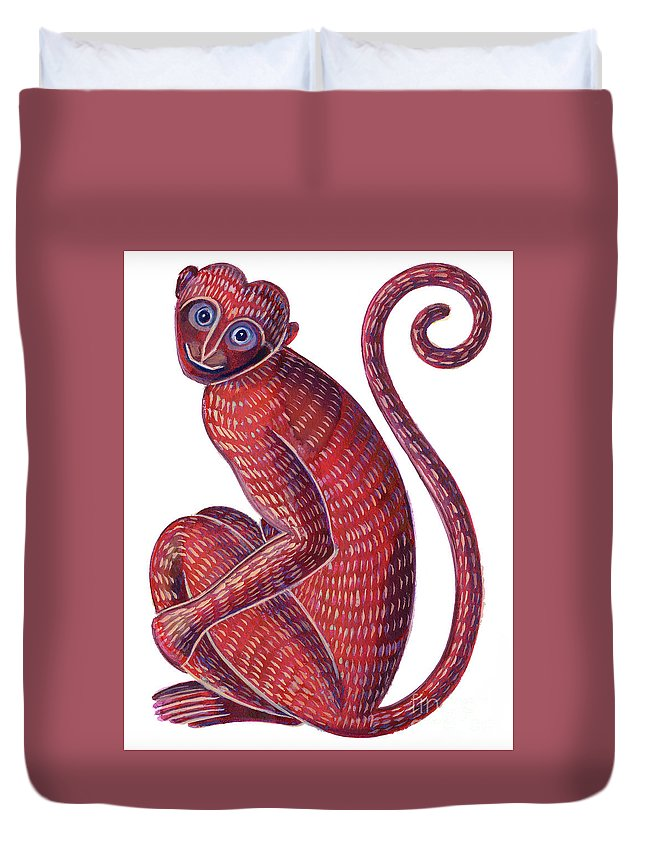 Monkey Duvet Cover featuring the painting Monkey by Jane Tattersfield