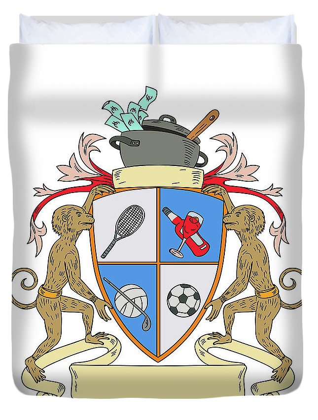 Drawing Duvet Cover featuring the digital art Monkey Money Cook Pot Sports Wine Coat Of Arms Drawing by Aloysius Patrimonio