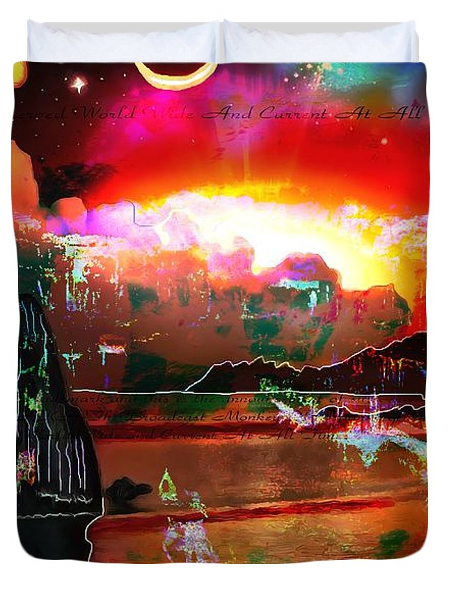 Www.nospankingthemonkey.com Monkey Painted Italy On A Moon Lit Night Duvet Cover featuring the painting www.nospankingthemonkey.com Monkey Painted Italy On A Moon Lit Night by Catherine Lott
