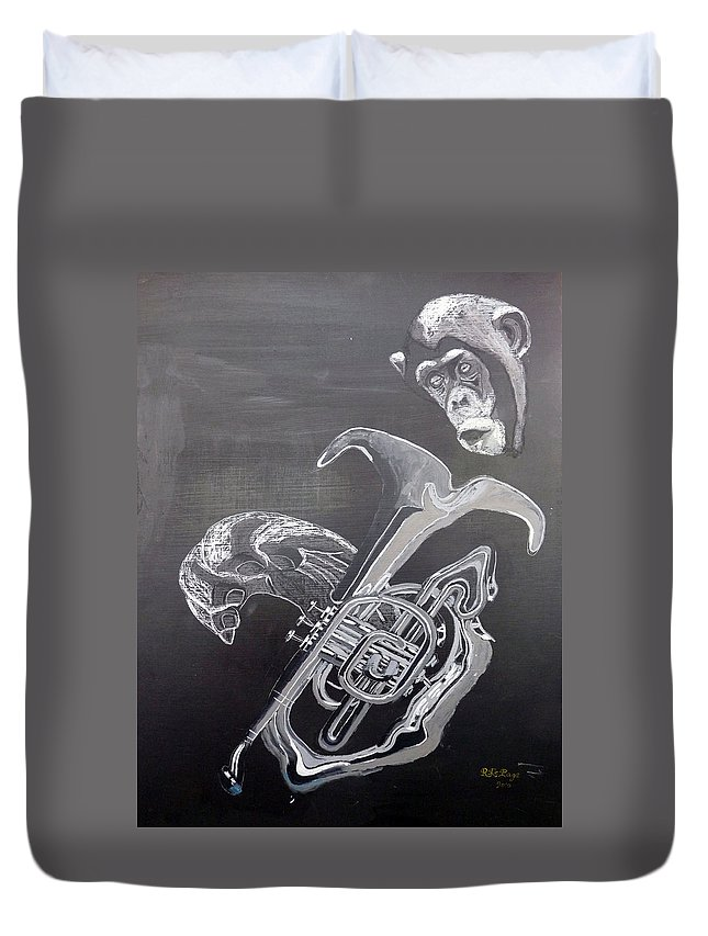 Tuba Duvet Cover featuring the painting Monkey Playing Tuba by Richard Le Page