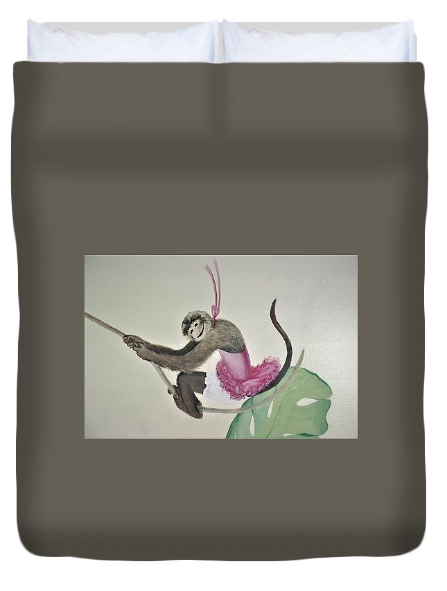 Monkey Duvet Cover featuring the painting Monkey Swinging In The Trees by Suzn Art Memorial