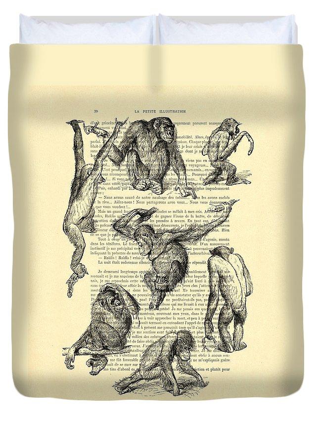 Monkeys Duvet Cover featuring the digital art Monkeys Black And White Illustration by Madame Memento
