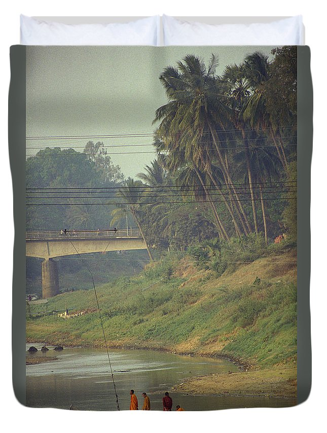 Monks Duvet Cover featuring the photograph Monks - Battambang by Patrick Klauss