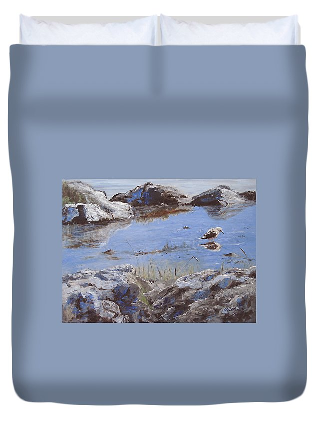 Animal Duvet Cover featuring the painting Mono Lake by Barbara Andolsek