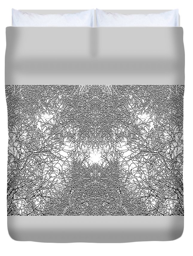 Winter Duvet Cover featuring the digital art Mono Trees by Steve Ball