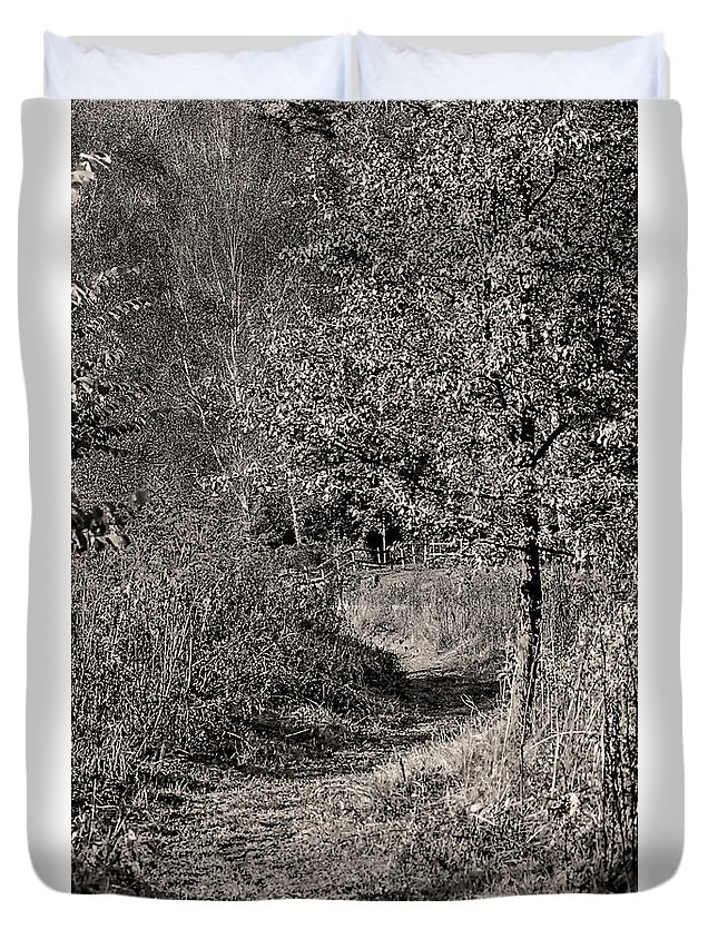 Black And White Duvet Cover featuring the photograph Monochrome Autumn October by Leif Sohlman