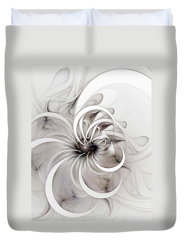 Digital Art Duvet Cover featuring the digital art Monochrome Flower by Amanda Moore