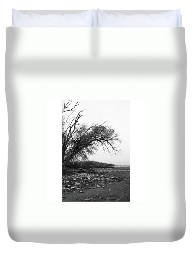 Monochrome Duvet Cover featuring the photograph #monochrome #lake #landscape #stausee by Mandy Tabatt
