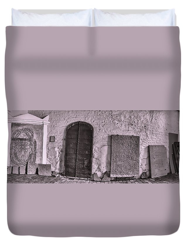 Black And White Duvet Cover featuring the photograph monochrome Treasures by Leif Sohlman
