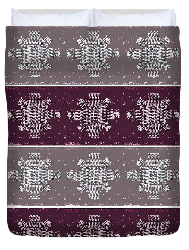 Monogram Duvet Cover featuring the tapestry - textile Monogram Qm Plum Wine Slate 2 by Christine McCole